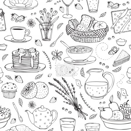 Illustration for Vector hand drawn seamless pattern with various cute breakfast items - Royalty Free Image