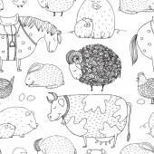 vector hand drawn seamless pattern with cute farm animals