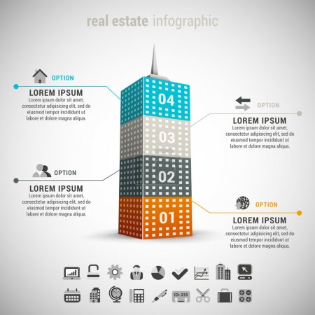 Illustration for Vector illustration of real estate infographic made of building. - Royalty Free Image