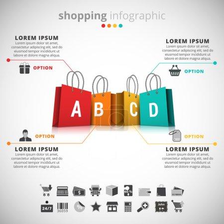 Illustration pour Illustration vectorielle de l'infographie shopping faite de sacs à provisions . - image libre de droit