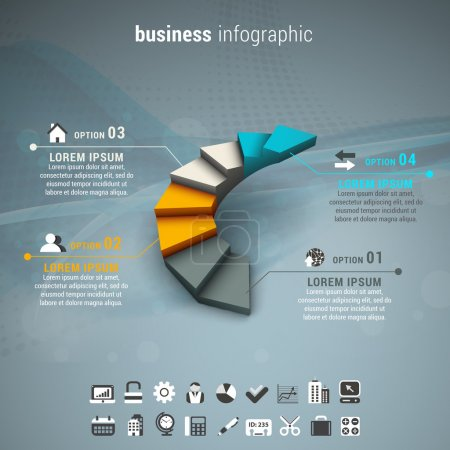 Illustration for Vector illustration of business infographic made of stairs. - Royalty Free Image