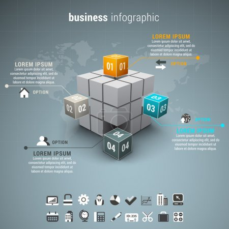 Illustration for Vector illustration of business infographic made of cubes. - Royalty Free Image