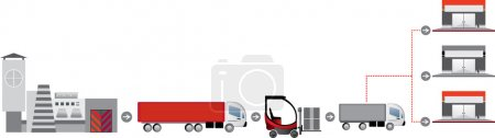 Illustration for Red-grey logistics icons. Logisitcs system - Royalty Free Image