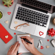 Valentines Day concept with modern gadgets and han...