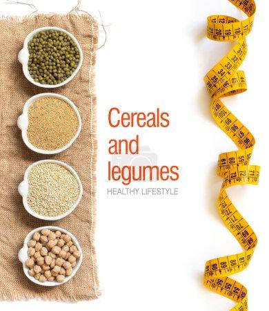Raw Organic Amaranth and quinoa grains, chickpea and mung beans
