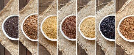 Photo pour Collage de différentes céréales dans des bols sur la toile de jute - image libre de droit