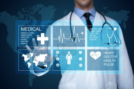 Photo for Doctor working on a virtual screen. medical technology concept - Royalty Free Image