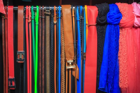 Collection of Colorful  Belts on Rack