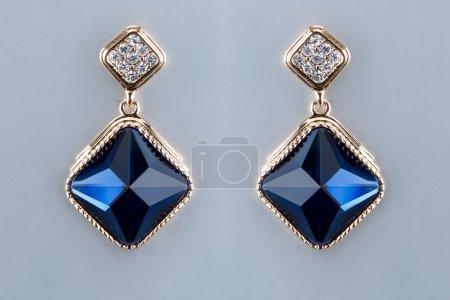 Pear Diamonds Earrings. blue gems