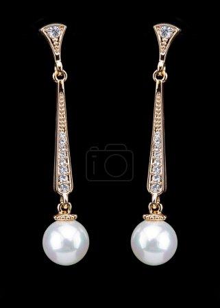 Pear Diamonds pearl Earrings