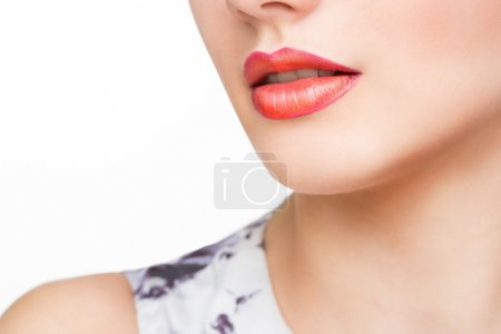 Red Sexy Lips and Nails closeup. Open Mouth. Manicure and Makeup. Make up concept.