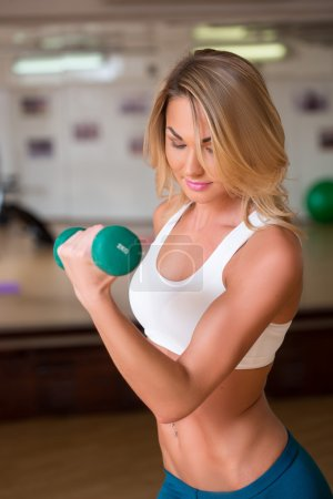 sexy girl engaged in fitness with dumbbells in the gym