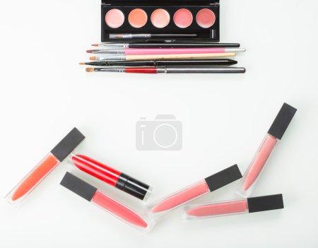 a set of professional makeup artist. Different Lipstick
