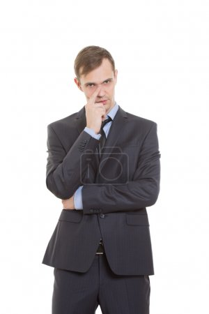 gestures distrust lies. body language. man in business suit isolated on white background. finger touching the nose. cards