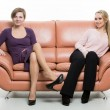 Постер, плакат: beautiful female friends on the sofa two businesswomen body language gestures psychology paired gestures female gestures to attract men