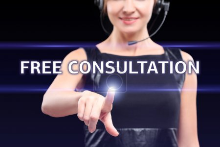 technology, internet and networking concept - businesswoman pressing free consultation button on virtual screens