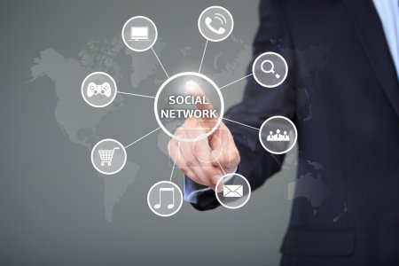 Photo for Touch Social Network and Social Network Concept - Royalty Free Image