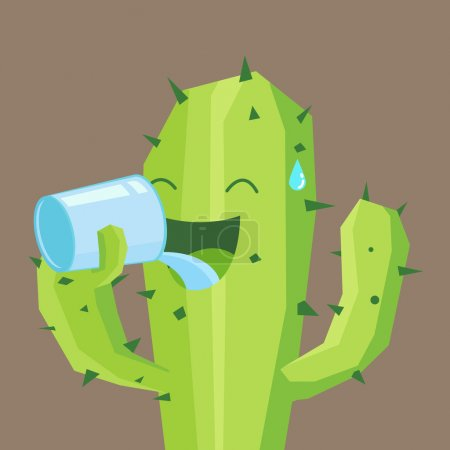 Illustration for Cactus drinking water - Royalty Free Image