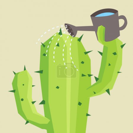 Illustration for Cactus watering him self - Royalty Free Image