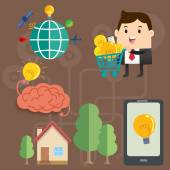 Business man Brain Global