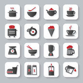 White flat modern cooking and food icons with long shadow