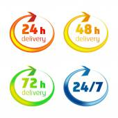 Around the clock delivery vector icons