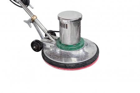 Exterior black stone floor cleaning with polishing machine and c