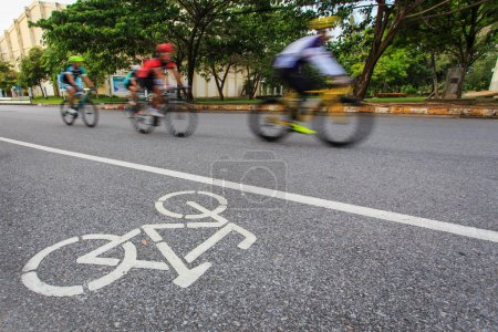 Bicycle sign or icon and movement  of cyclist in t...