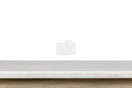 Empty top of white mable stone table isolated on white backgroun