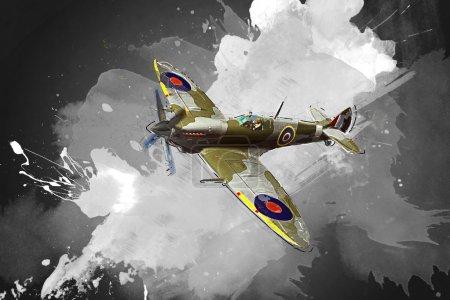 Photo pour Rendu d'un Spitfire Supermarine de ww2 modèle 3d en vol - image libre de droit