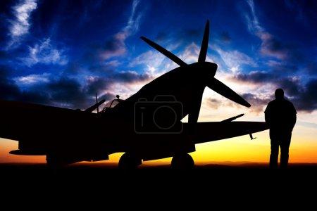 Photo pour Rendu d'un modèle 3d Supermarine Spitfire ww2 - camouflage générique - image libre de droit