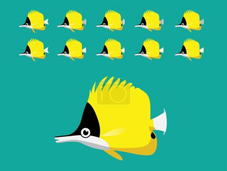 Animación Animal Secuencia Longnose Butterflyfish Natación Vector de dibujos animados