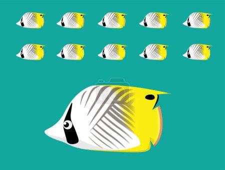 Animación Animal Secuencia Threadfin Butterflyfish Natación Vector de dibujos animados