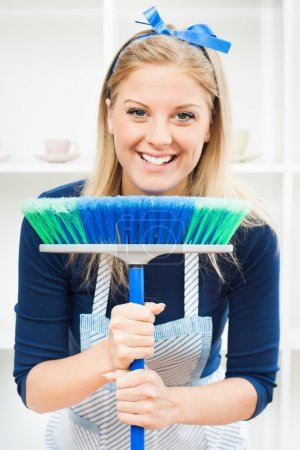 Young housewife has to cleaning