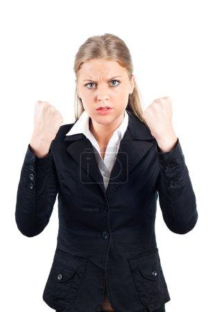 Photo pour Femme d'affaires de jeunes frustrés sur blanc - image libre de droit