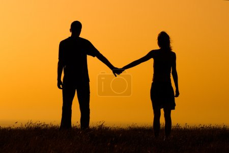 Couple enjoy watching sunset