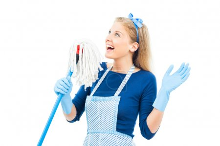 beautiful housewife with mop