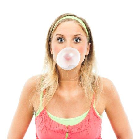 Girl blowing big bubble gum