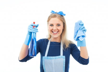 happy housewife cleaning