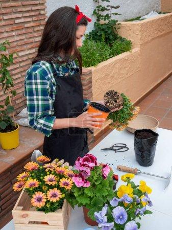 Photo pour Belle jeune femme jardinage à la maison plantation de fleurs dans des pots - image libre de droit