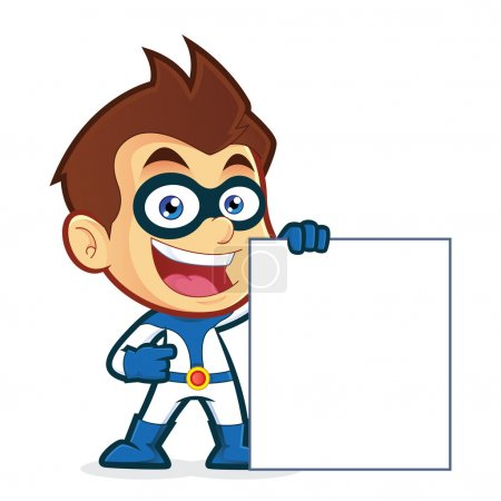 Illustration for Vector clipart picture of a superhero cartoon character holding a blank sign - Royalty Free Image