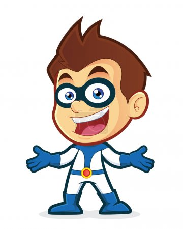 Illustration for Vector clipart picture of a superhero cartoon character in welcoming gesture - Royalty Free Image