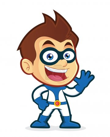 Illustration for Vector clipart picture of a superhero cartoon character waving - Royalty Free Image