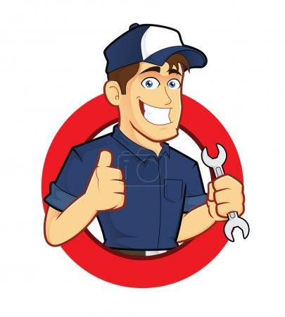 Illustration pour Clipart image d'un personnage de dessin animé mécanique avec forme de cercle - image libre de droit