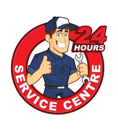 Illustration pour Clipart image d'un personnage de dessin animé mécanique avec centre de service 24 heures - image libre de droit