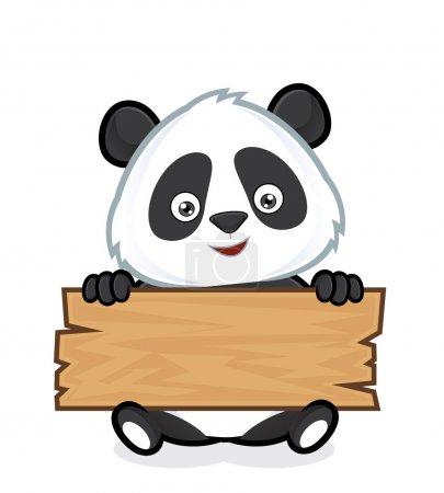 Illustration pour Clipart image d'un personnage de dessin animé panda tenant une planche de bois - image libre de droit