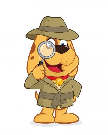 Illustration for Clipart picture of a detective dog cartoon character - Royalty Free Image