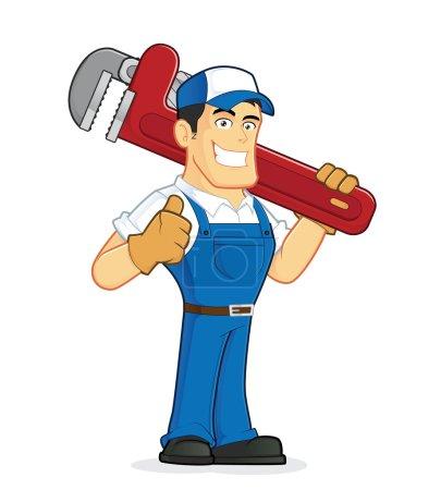 Illustration pour Clipart image d'un personnage de dessin animé plombier tenant une énorme clé à pipe - image libre de droit