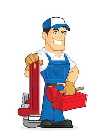 Illustration pour Clipart image d'un plombier caricature personnage tenue outils - image libre de droit