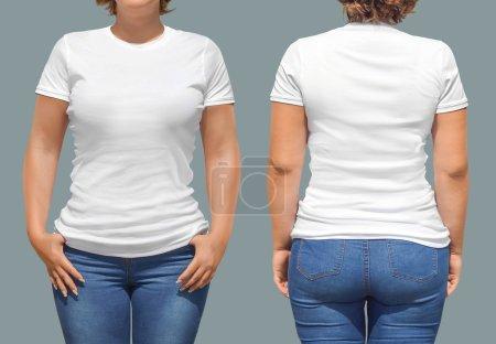 Photo pour Modèle de T-shirt femme - image libre de droit